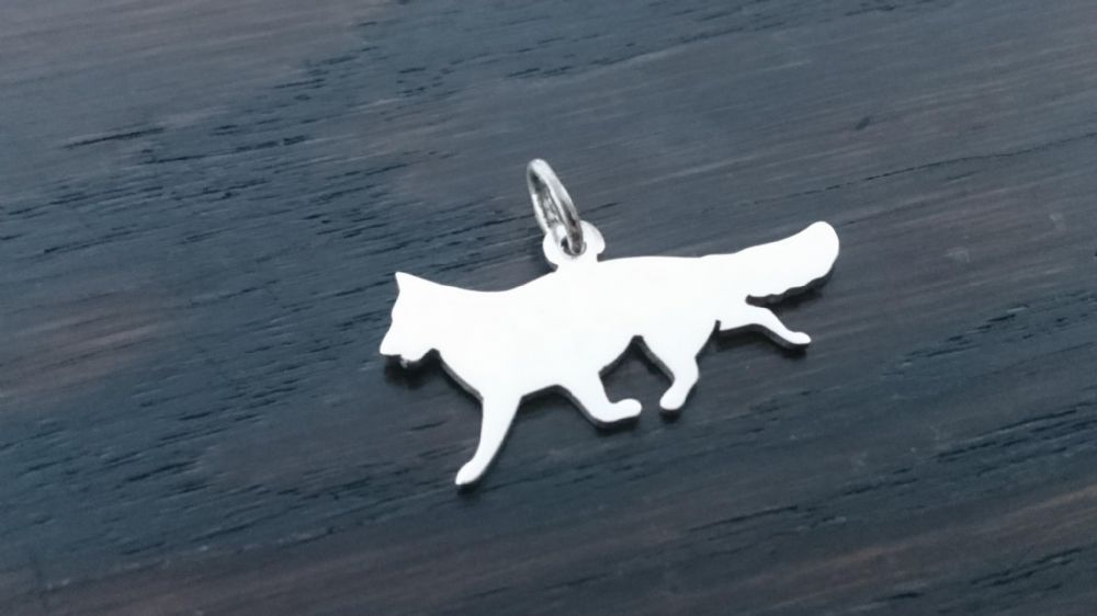 German Shepherd Charm silhouette solid sterling silver Handmade in the Uk